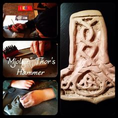 We made Mjolnir (Thor's hammer) out of clay. Grade 4 Waldorf homeschooling. www.syrendell.blogspot.com