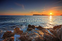 Fototapete Bachlandschaft - Sunset from Dubrovnik, Croatia