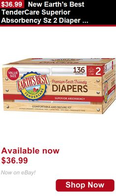 Baby Cloth Diapers: New Earths Best Tendercare Superior Absorbency Sz 2 Diaper Bulk Pac - 136 Count BUY IT NOW ONLY: $36.99
