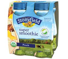 Convenient 6oz 4-packs of Stonyfield organic Peach Super Smoothies, with low fat  organic yogurt and fruit, and active cultures for digestive health.  Get nutrition facts. #Stonyfield