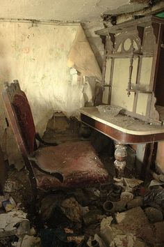 """Beautiful furniture left behind in this abandoned house.  Photo by Harriet Isabella Home.  From the Facebook Community """"Abandoned Asylums""""."""