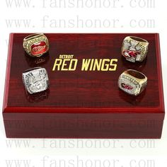 Detroit Red Wings NHL Championship Rings Set Wooden Display Box Collections - Hockey