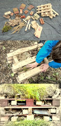 Build your own wildlife stack or bug hotel. in your garden or school grounds, see which bugs you can get to move in Brownies Girl Guides, Garden Inspiration, Garden Ideas, Early Years Classroom, Bug Hotel, Growing Gardens, Sustainable Practices, Outdoor Classroom, Outdoor Learning