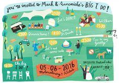 wedding invitations illustration Festival Wedding Invitation - illustration and hand lettering by Agnes Loonstra