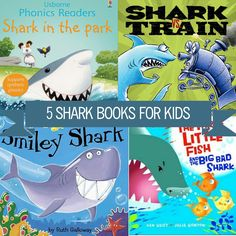 """""""So, even though Shark Week is officially over, here are five colorful books to keep the excitement going. Shark Books, Synthetic Phonics, Children's Choice, Shark Week, Under The Sea, Childrens Books, Books To Read, Preschool, Train"""