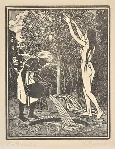 Lot 184: AR Raverat (Gwen, 1885-1957). Bathsheba, 1920, woodcut on ...