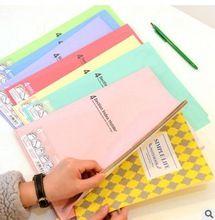Color de la fruta de plástico 4 sección índice carpeta de archivo de documento organizador de almacenamiento de llenado papelería A4 tamaño(China (Mainland))