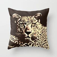 Leaopard Throw Pillow by Paula Belle Flores - $20.00