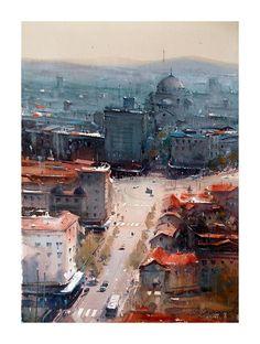 Dusan Djukaric Watercolor, 56x76 cm