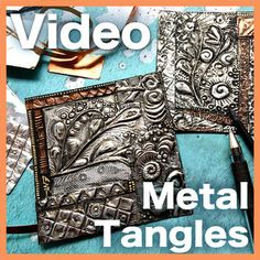 Learn a new medium — embossing on metal foil tape — using minimal investment in tools and supplies. Create GORGEOUS metallic tiles with super cool grungy, antiqued look. Tin Foil Art, Aluminum Foil Art, Aluminum Can Crafts, Metal Crafts, Metal Projects, Art Projects, Metal Embossing, Metal Stamping, Foam Crafts
