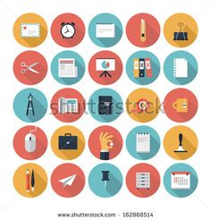 Modern flat icons vector collection with long shadow effect in stylish colors of  business elements, office equipment and marketing items. Isolated on white background.   by bloomua, via Shutterstock