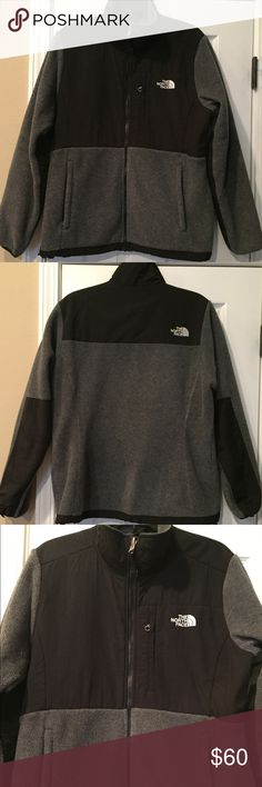 The North Face Women's Jacket Women's black & gray fleece/windbreaker jacket. Features black windbreaker material on chest/shoulder area and down the arms. Two zipper front pockets. Elastic pulls to cinch waist. No rips, tears or stains. In good used condition. Only missing a few tags on the zipper pulls (front pockets & pocket near logo in the front). See last pic for more info. The North Face Jackets & Coats Utility Jackets