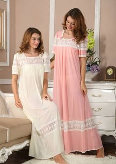 Silk Elegance MISS LINDA® Short Sleeve Long Sleepwear #follow #like #Sleepwear #nightgowns