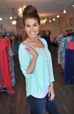 Dottie Couture Boutique -  Mint Blouse, $39.00 (http://www.dottiecouture.com/mint-blouse-1/)