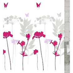 Kleine Wolke - Barcelona Polyester Shower Curtain - x - Berry - at Victorian Plumbing UK Berry, Shower Curtain Rings, Butterfly Design, Fabric Shower Curtains, Plumbing, Bad, Barcelona, Victorian, House Design