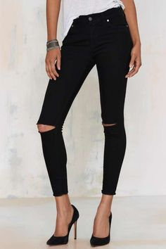 Aline High-Waisted Cropped Skinny Jeans - Vintage Tees and Denim