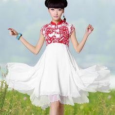 裂帛2013新款夏季百褶立领 植绒印花 高腰雪纺连衣裙
