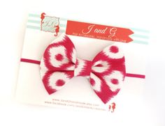 Baby/Child/Girls Duck Fabric Bow Headband Baby by JandGhandmade, $6.95 #headband #ikat #babyheadband #fabricbow