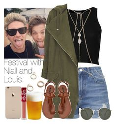 """Festival with Niall and Louis."" by welove1 ❤ liked on Polyvore featuring Topshop, River Island, Free People, Ray-Ban, Forever 21, Lime Crime and Kinto"