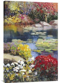 Positive Energy Fine Art Painting Garden Pond – Explosion Luck