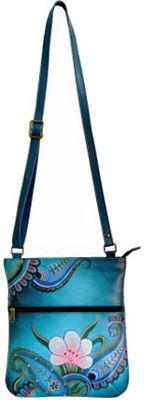 Women's ANNA by Anuschka Hand Painted Slim Cross Shoulder Bag 8071 Shoulder Bags