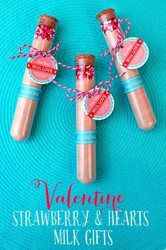 Free Valentines Day Gift Tags Printable- fill test tube with strawberry milk powder and top it off with hearts sprinkles