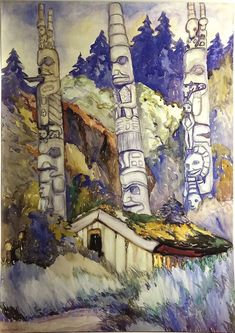 (via Emily Carr: Who Is She?) Haida Totems, Cha-atl, Queen Charlotte Island by Emily Carr, 1912 Tom Thomson, Canadian Painters, Canadian Artists, Native Art, Native American Art, Critique D'art, Group Of Seven, Post Impressionism, Impressionist Paintings