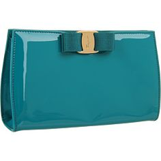 Salvatore Ferragamo Vara Clutch - $495.99. Leave it to Ferragamo to make a bright-colored patent leather clutch look chic!