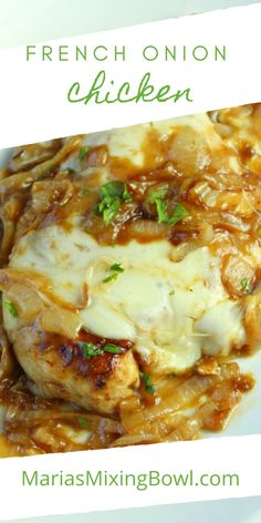 If you love the taste of French Onion Soup, you're going to go crazy over this French Onion Chicken. It's finger-licking good and soon to be a family favorite meal. #frenchonionchicken #easychickenrecipe Duck Recipes, Meat Recipes, Crockpot Recipes, Cooking Recipes, Recipe Using Chicken, Easy Chicken Recipes, Eat You Out, French Onion Chicken, Dinner Is Served