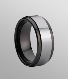 Classic Tungsten Carbide Ring with Black Ceramic Inlay - 9mm,This ring is customizable item, you can costum made your width and size