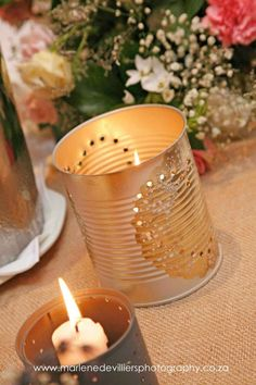 Candle in can with doily detail