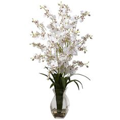 Nearly Natural 1294-WH Dancing Lady Orchid with Vase Arrangement, White ** Be sure to check out this awesome product.