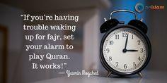 Start your day right, pray Fajr! Yasmin has the right idea...set your alarm to play Qur'an. #salah #prayer #praynow #sleeplater