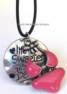 Silver Plated Bikini Necklace Pink Enamel Island Life is Sweeter at the Beach #Handmade #Pendant