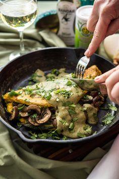 vegan Asparagus Mushroom Omelette: •¾ C. Vegetable Broth •⅓ C. Chickpea Flour •1 T. Nutritional Yeast •1 T. Vegg Powder •¼ tsp. Salt •Pinch of Black Pepper