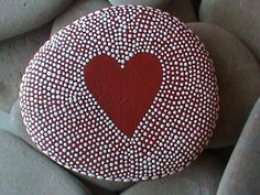 Hand painted red heart stone