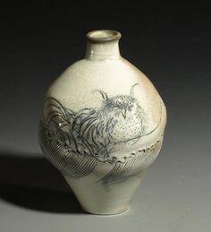 Frank Boyden | Owl & Salmon Vase | The Art Spirit Gallery