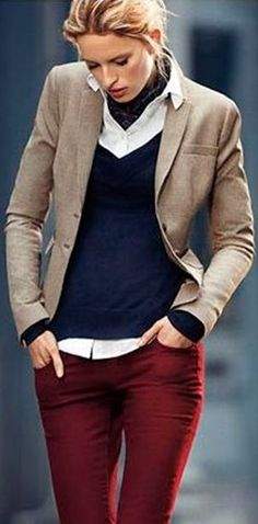 Beige blazer, White shirt, Navy v- neck sweater, Burgundy trousers - Work  Outfit 2563b76eef