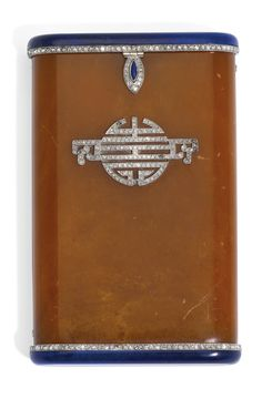 Lacloche Frères - Art Deco Card Case - c. 1925 - Jewelled Amber and Hardstone with Platinum Mounts - Lacloche Freres - Sotheby's