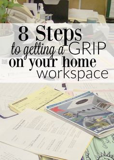 Get a GRIP! Organizing office desk, workspaces, work spaces - look, I know it's not probably your favorite thing to do, but organizing your workspace is so important and you'll be so much more productive! http://couponcravings.com