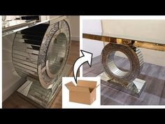 This is a DIY REQUESTED Video on How To use Cardboard for a Glam Entryway Table. I used a lot of negl. Diy Entryway Table, Diy Table, Furniture Makeover, Diy Furniture, Wooden Photo Box, Bling Bling, Mirrored Furniture, Diy Wall Art, Diy Art
