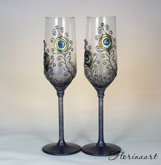 Peacock wedding glasses, Peacock glasses, Champagne flutes, Wedding glasses, Painted glasses  READY to ship  A set of tow peacock design champagne flutes.They are suitable for anniversary,sophisticated present, wedding accessory or any other occasions. The glasses are hand painted with a unique original design. Each of them can be personalized on the base with your names or wedding date for free.  NOTICE Personalized items are not refundable or exchangeable due to the written personal text…