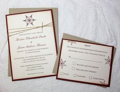 Winter Wedding Invitations  Burgundy with by TorisCustomCreations, $425.00
