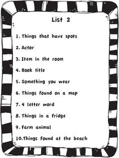 This is a picture of Adaptable Scattergories Junior Lists Printable