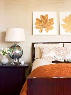 Add a throw blanket and wall décor to transition your bedroom from summer to fall!