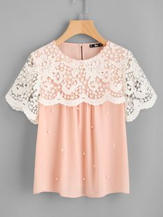 4d9269419d Shop Guipure Lace Overlap Pearl Beading Top online Australia,SHEIN offers  huge selection of Blouses more to fit your fashionable needs.