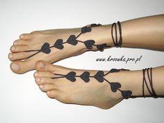 Crochet heart barefoot sandals!