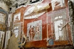 Herculaneum Fresco. If you're planning a trip to Pompeii you have to go to Herculaneum too! So much better preserved. Think quantity at Pompeii but quality at Herculaneum.