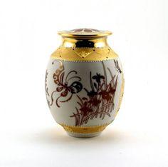 """""""Spring"""": Lidded Jar, 15cmx10.5cm, porcelain, clear glaze, lustre, gold, sand etched, enamel"""