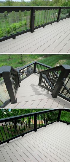 Soft gray decking boards paired with bold black rails brings a contemporary flavor to this outdoor space.  Glass balusters were used to maximize a scenic view on one side of the deck whereas sleek metal balusters were used elsewhere for a unique and customized design. | west-county.archadeck.com on houzz